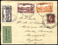 Lot 1799 [3 of 8]:1931-88 from 1931 plain envelope Dunedin-London via Sydney AAMC #222 franked 1931 Air set of 3 SG #548-50, 1932 (Sep 28) Hokitika-Okuru NZAC #65d, a commercial plain registered envelope Wellington-Perth with pair 1931 FIVE PENCE on 3d green SG #551, 1934 plain envelope 1st Trans-Tasman with optd 7d SG #554 tied Auckland cds AAMC #360 (NZAC #81e) then small range mainly domestic usage including BOAC, helicopters, odd photo, to 1988 Christchurch-Adelaide AAMC #2055b. Some of the earlies have small faults, mainly fine. (20)