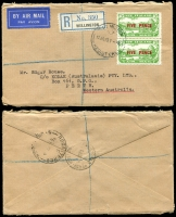 Lot 1799 [1 of 8]:1931-88 from 1931 plain envelope Dunedin-London via Sydney AAMC #222 franked 1931 Air set of 3 SG #548-50, 1932 (Sep 28) Hokitika-Okuru NZAC #65d, a commercial plain registered envelope Wellington-Perth with pair 1931 FIVE PENCE on 3d green SG #551, 1934 plain envelope 1st Trans-Tasman with optd 7d SG #554 tied Auckland cds AAMC #360 (NZAC #81e) then small range mainly domestic usage including BOAC, helicopters, odd photo, to 1988 Christchurch-Adelaide AAMC #2055b. Some of the earlies have small faults, mainly fine. (20)