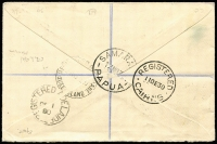 Lot 1448 [2 of 2]:1930 (Nov 30) 'AIR MAIL' Plane opts on 3d, 6d and 1/-, the latter, variety Optd in dark carmine, SG #115-7 (variety) all very fine on registered cover from Samarai to England. The 1/- dark carmine overprint being extremely rare on cover with very few known. Ceremuga Certificate (2001).