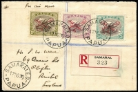 Lot 1448 [1 of 2]:1930 (Nov 30) 'AIR MAIL' Plane opts on 3d, 6d and 1/-, the latter, variety Optd in dark carmine, SG #115-7 (variety) all very fine on registered cover from Samarai to England. The 1/- dark carmine overprint being extremely rare on cover with very few known. Ceremuga Certificate (2001).