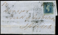 Lot 687 [1 of 2]:1857 (Sept 19) cover from Taroom to Ipswich with 2d Diadem indistinctly cancelled with a number of Moreton Bay datestamps on the reverse. Rare from this office.