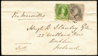 Lot 1214 [1 of 2]:1870 4d & 6d Chalon on cover from Brisbane to Ireland with backstamps 'BRISBANE/MY15/70' and 'H&K PACT/JY10/1870'.