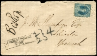 Lot 689:1875 Underpaid cover to Ipswich with 2d Chalon cancelled by rays '55' of Gatton, fault at top. [Rated NNS]