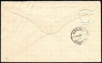 Lot 690 [2 of 2]:1904 Illustrated Cover to Tasmania with 2d QV tied by Brisbane duplex OC 13 04 with fine embossed 'The National Mutual Life Association of Australasia Ltd' coat of arms at upper left, repaired spike hole at left. Attractive Tattersalls cover.