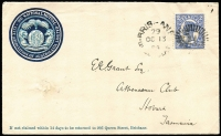 Lot 690 [1 of 2]:1904 Illustrated Cover to Tasmania with 2d QV tied by Brisbane duplex OC 13 04 with fine embossed 'The National Mutual Life Association of Australasia Ltd' coat of arms at upper left, repaired spike hole at left. Attractive Tattersalls cover.