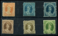 Lot 1204 [2 of 2]:1868-74 Small Chalon Wmk Truncated Star Perf 13 1d orange-vermilion SG #59, 2d pale blue and blue SG #60 & 61, 3d brown x2 SG #67, 6d yellow-green SG #68 and 6d green SG #69. (7)