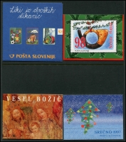 Lot 1834 [2 of 7]:1990s-2000s Booklets unduplicated range incl 1997 Christmas, 1998 Stamp Day plus Slovenia Booklets x17 a few covers and post cards. Cat £500+. (43 booklets)