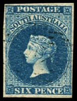 Lot 701:1855 Imperf London Printing 6d deep blue, SG #3, four margins with light cancel, Cat £170.