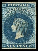 Lot 702 [2 of 2]:1855 Imperf London Printing 6d deep blue, SG #3 margins close in places, neat cancels, Cat £340. (2)