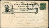 Lot 1875 [1 of 2]:1906 usage of advertising cover for Lives of Famous Indian Chiefs American Indian Historical Publishing Co. Aurora, Ill. with fine photo of Chief Joseph at left, backstamped Notre Dame, Ind Sep 22 1906. Great Advertising envelope.