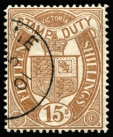 Lot 876 [1 of 2]:Stamp Duty CTO Collection from ½d green to £1 St George with part MELBOURNE cancel, no duplication. (21)