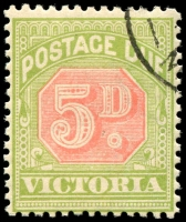 "Lot 1325 [1 of 2]:1907-08 'Unissued' 5d Dull Scarlet and Pea-Green Wmk Crown/A inverted, SG #D38, CTO, large part OG with hinge. Kellow at page 326 states ""Four such copies are now known, and these must have been included inadvertently in presentation sets to various officials"". Very rare and undercatalogued by SG Cat £1,700."