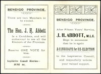"Lot 914 [1 of 3]:1904 Re-Election Notice from JH Abbott, MLC who Begs to announce that he is again a Candidate for Re-Election on folded card sent to electors in an unfranked envelope 'PAID AT BENDIGO/AP28/04' carry a framed 'NOT KNOWN BY/LETTER CARRIER/BENDIGO', hand-written ""Gone away"" on reverse. Very good condition, wonderful ephemeral item."