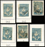 Lot 741 [2 of 4]:1850-1857 3d Half-Lengths group from SG #4-31 on loose leaf pages most with plating and shading guides, comprising one pair and 18 singles including one rouletted 7-9 (faults). Inspection is sure to reward. (20)