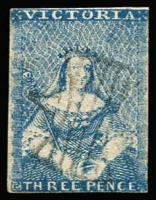 Lot 743:1850-53 Half-Length Ham 1st State 3d blue [1] with partial butterfly cancel, SG #4a, margins close all round, Cat £450.