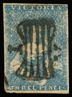 Lot 744:1850-53 Half-Length Ham 1st State 3d blue [8] with heavy butterfly cancel, SG #4a, margins close in LHC, Cat £450.