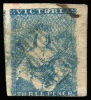 Lot 740 [2 of 3]:1850-53 Half-Length Ham 1st State 3d bright blue and 3d blue x2, SG #4, 4a, in mixed condition with faults, Cat £1,500. (3)