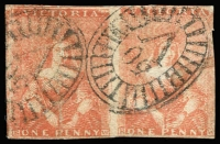 Lot 757:1850-53 Half-Length Ham 3rd State 1d dull red scarce horizontal pair [16-17] with BO '50' of Port Fairy, SG #8a, cut into at right, Cat £400.