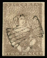 Lot 772:1850-53 Half-Length Ham Altered 3rd State 2d lilac drab [4] butterfly '29' of Port Fairy, SG #13b, margins all round, small thin at base, Cat £180. Attractive stamp.