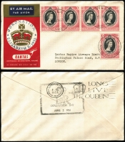 Lot 626 [2 of 5]:1953 Coronation Flight (Jun 2) complete set of 12 Qantas printed covers for the intermediate stages to London, including the scarce Cocos. Cat $240+.