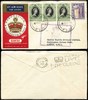 Lot 626 [4 of 5]:1953 Coronation Flight (Jun 2) complete set of 12 Qantas printed covers for the intermediate stages to London, including the scarce Cocos. Cat $240+.
