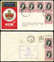 Lot 626 [1 of 5]:1953 Coronation Flight (Jun 2) complete set of 12 Qantas printed covers for the intermediate stages to London, including the scarce Cocos. Cat $240+.