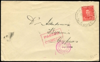 Lot 631:Europe (Sept 15) cover from Mossman to Cyprus with censor markings, 'PASSED/CENSOR' boxed in pink, and 'CENSORSHIP DEPT' on front and rear. Rare usage.