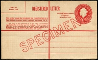 Lot 586 [1 of 2]:1956-58 1/7d Red QEII overprinted 'SPECIMEN' in red, BW #RE38w.