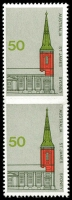 Lot 449:1973 50c Architecture St James Church, vertical pair, variety Imperforate between, faint perf indentation as the case in all the examples of this variety, BW #657b, fresh MUH, Cat $2,000.