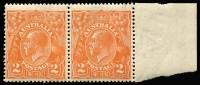 Lot 253:2d Orange Die I marginal pair [6R35-36], right unit variety Retouched GE of AUSTRALIA, left unit without crown variety, BW #95(6)h, Cat $200++. Fresh MUH.