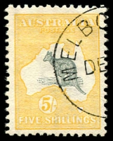 Lot 56:5/- Grey & Yellow with Melbourne DE[3/13]