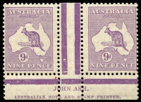 Lot 130:9d Purple Die IIB Plate 3 Ash Imprint pair, BW #28(3)za, lightly hinged with discoloured gum, Cat $450.