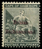 Lot 1336:1885-87 ½d Grey-Black with variety Overprint double in both lake and black, SG #1b, BPA certificate (1979), Cat £750.