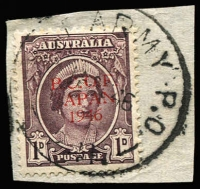 Lot 637 [3 of 6]:1946 Proof Overprints in thin seriffed letters, set of six, ½d to 3d on separate pieces tied by 'AUST ARMY PO 241/18 OC 46' datestamps, then in use at Etajima, comprising ½d, 1d and 3d red opts, 1d and 3d black opts, 3d opt in gold, very VFU. BW #J1PP(2), #J2PP(2)A&B, #J3PP(2)A, BW #, Cat $4,500. Ex Arthur Gray. Ceremuga certificate (2019). (6)