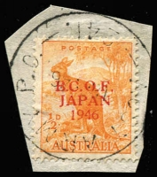 Lot 637 [1 of 6]:1946 Proof Overprints in thin seriffed letters, set of six, ½d to 3d on separate pieces tied by 'AUST ARMY PO 241/18 OC 46' datestamps, then in use at Etajima, comprising ½d, 1d and 3d red opts, 1d and 3d black opts, 3d opt in gold, very VFU. BW #J1PP(2), #J2PP(2)A&B, #J3PP(2)A, BW #, Cat $4,500. Ex Arthur Gray. Ceremuga certificate (2019). (6)