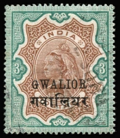 Lot 1725:1885-97 QV 3R Brown & Green with variety Small 'G' in Gwalior, SG #36a, fine used, Cat £300.