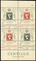 Lot 1751:1952 'CENTILUX' Exhibition Air issue, 2f and 4f se-tenant block of 4, SG #552fa, fresh MUH, Cat £380. (4)
