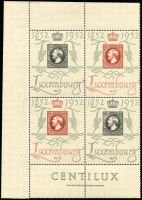 Lot 1750 [2 of 3]:1952 'CENTILUX' Exhibition Set Air and Postage issues in blocks of four to 10f, the Postage issue in two se-tenant blocks of four with inscriptions, SG #552a-552g, fresh MUH, Cat £1,380+. (28)