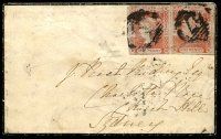 Lot 671:1854 (May 1) small mourning cover to Sydney with 1d Laureate on blue paper x2, cancelled at Raymond Terrace.