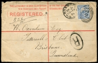 Lot 673 [1 of 2]:1895 (Sept 21) Registered Envelope from Burwood to Tattersall's first office in Queensland, fine. (Tatt's office was only opened for a couple of years in Queensland before re-locating to Tasmania).