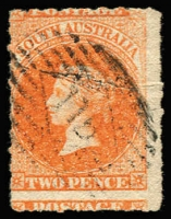 Lot 1208:Saddleworth (1): '115' diamond numeral on Rouletted 2d vermilion. [Rated 3R]  PO 2/1/1851; closed 31/1/1852.