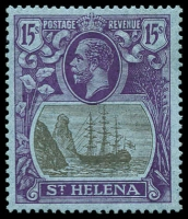 Lot 1819:1922-37 KGV 15/- grey & purple/blue, SG #113, faintest trace of hinge, tiny gum thin, Cat £1,100.