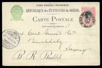 Lot 15724:1898 Liberty Facing Right HG #27 100r red & black, to Germany, cancelled at Rio De Janeiro in 1903, minor crease on card.