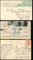 Lot 311 [4 of 4]:Selection Postal history from various States, including NSW 1d Red tied by 1909 (29 Jan) cds on picture postcard with 2 separate postage due markings, Qld QV One Penny card from Taringa to Gottingen, Germany with strike of TPO QLD 1897 (24 Oct), rouletted 2d Emblems x2 on cover from Melb to Steiglitz, also various covers from NSW and WA, interesting selection of covers and cards. (11)