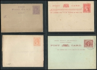 Lot 310 [4 of 5]:Selection: An interesting range of Postal Stationery items from various Australian Colonies. Including unused Beer & Baccy Card, hand written post card with ½d Swan and clear Perth cancel of 1896. Victorian unused stationery items, a perforated letter card, and 1d brown Card cancelled by Melbourne 13 April 1892 duplex and used by local candidate in the 1892 election, with several interesting markings including DLO 'f313Not known letter carriers Melbourne', 'Unclaimed at Melbourne' and rare 'LIST NO.2' oval cancel. As well as unused and used there are CTO post cards from Vic and WA. (9)