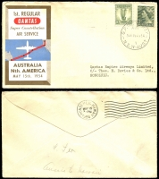 Lot 1306 [2 of 4]:1941-59 Selection of covers, mainly flight, Includes cover from Gladesville NSW dated 19 April 1941 to Embro, Canada, returned stamped 'not known' with red 'Dead Letter Office Sydney' handstamp and label affixed on reverse. QANTAS First Flights to Cocos Keeling, Sydney to San Francisco, Aust to South Africa (with 1/- Lyre Bird imprint block), etc. Good condition. (16)