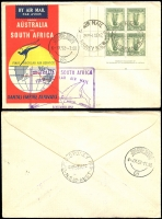 Lot 1306 [1 of 4]:1941-59 Selection of covers, mainly flight, Includes cover from Gladesville NSW dated 19 April 1941 to Embro, Canada, returned stamped 'not known' with red 'Dead Letter Office Sydney' handstamp and label affixed on reverse. QANTAS First Flights to Cocos Keeling, Sydney to San Francisco, Aust to South Africa (with 1/- Lyre Bird imprint block), etc. Good condition. (16)