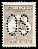 Lot 68:2/- Brown Perf Large 'OS' BW #35ba, tiny blemish on face, Cat $1,500.