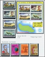 Lot 14 [1 of 7]:British Solomon Islands 1937-95 on annotated pages, post-1960s mainly complete mint sets, incl 1993 Defins, 1993 WWF Birds, etc. Useful group with many topical issues. (100s)
