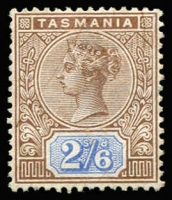 Lot 329 [2 of 2]:1892-99 Tablets Wmk TAS Perf 14 2/6d brown & blue mint and 10/- mauve & brown VFU. Both stamps with strong fresh colour and clean perforations all round.